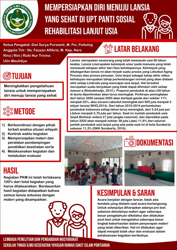 Poster Pengmas: Mempersiapkan Diri Menuju Lansia yang Sehat di UPT Panti Sosial Rehabilitasi Lanjut Usia